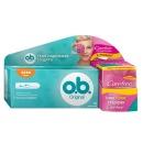 """o.b. тампоны """"Original Super"""" + супертонкие салфетки """"with Cotton feel"""" ароматизированные в индивидуальной упаковке, 16 шт + 20 шт"""