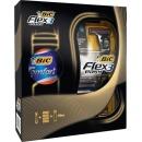 """Bic набор бритвенный станок с 3 лезвиями """"FLEX 3 HYBRID"""" + 4 картриджа + пена для бритья """"Comfort"""" для чувствительной кожи Алоэ Вера, 1 шт + 4 шт + 250 мл"""