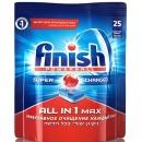 """finish таблетки для мытья посуды в посудомоечных машинах """"All in1. Max. Super charged"""", 25 шт"""