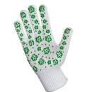перчатки для садовых работ трикотажные с дизайн напылением ПВХ, зеленые, 1 шт