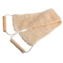 Банные штучки мочалка из сизаля лента с деревянными ручками