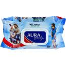 Aura влажные салфетки для всей семьи с антибактериальным эффектом с крышкой, 120 шт