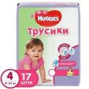 Huggies подгузники-трусики для девочек, размер 4, 9-14 кг, 17 шт