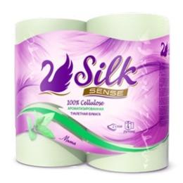 """Silk Sense бумага """"туалетная зеленая с ароматом Мята"""""""