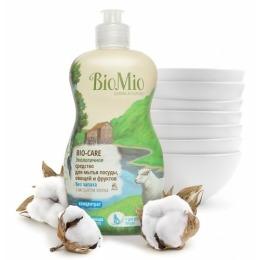 """BioMio средство для мытья посуды """"Bio-Care"""" с экстрактом хлопка и ионами серебра без запаха, 450мл"""