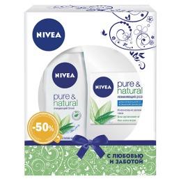 "Nivea набор женский очищающий тоник ""Pure &Natural"" 200 мл + увлажняющий дневной крем ""Pure &Natural"" 50 мл"