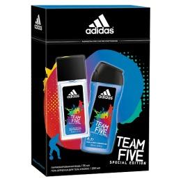 """Adidas набор мужской """"Team Five"""". Освежающая парфюмированная вода 75 мл + гель для душа для тела и волос 250 мл"""