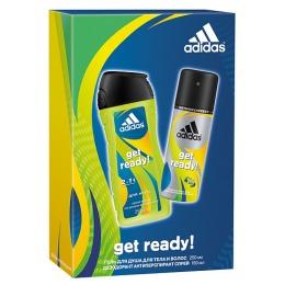 """Adidas набор мужской """"Get ready!"""". Антиперспирант спрей 150 мл + гель для душа для тела и волос 250 мл"""