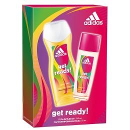 """Adidas набор женский """"Get ready!"""". Парфюмированная вода освежающая 75 мл + гель для душа питательный 250 мл"""