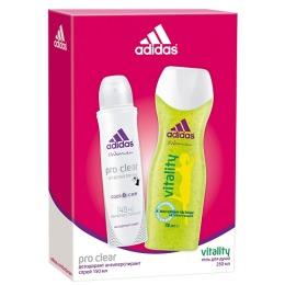 "Adidas набор женский антиперспирант ""ProClear"" спрей 150 мл + гель для душа ""Vitality"" увлажняющий 250 мл"