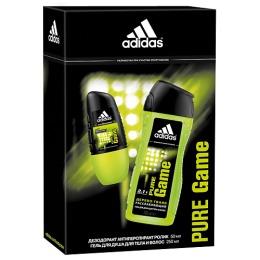 """Adidas набор мужской """"Pure Game"""". Антиперспирант ролик 50 мл + гель для душа для тела и волос 250 мл"""