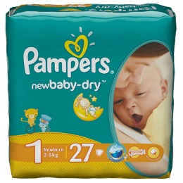 Pampers New Baby 1 (2-5 кг), 27 шт