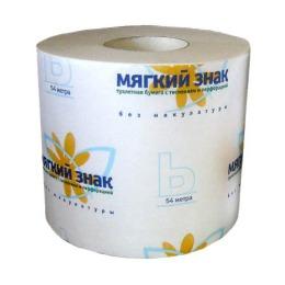 Мягкий знак туалетная бумага с тиснением, с перфорацией, амбалаж, 1 слой, тон белая, 1 рулон