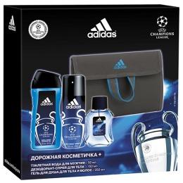 "Adidas набор мужской ""UEFA Champions League"" туалетная вода 50 мл + антиперспирант-спрей 150 мл + гель для душа 250 мл+дорожная косметичка"
