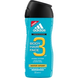 """Adidas гель-шампунь """"Water Sport"""" 3 в 1 для душа и умывания мужской"""