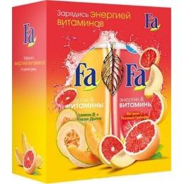 """Fa набор """"Энергия & Витамины"""" гель для душа """"Розовый грейпфрут"""" 250 мл +  гель для душа """"Медовая дыня"""" 250 мл + подвеска Лист"""