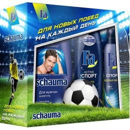 "Fa набор ""Футбол"" шампунь с хмелем 380 мл + гель для душа Спорт 250 мл + дезодорант спрей 100 мл + мяч антистресс."