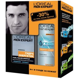 """L'Oreal набор """"Men expert"""" гель для бритья 200 мл + лосьон после бритья 100мл"""