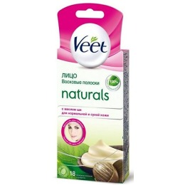 """Veet восковые полоски """"Naturals"""" с маслом ши для чувствительных участков тела и лица"""