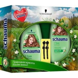 """Schauma набор  """"7 Трав"""" шампунь 225 мл + бальзам 200 мл + заколка для волос 2 шт"""