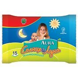 """Aura влажные салфетки """"Солнце и Луна"""" освежающие, 15 шт"""
