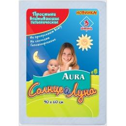 """Aura простыни гигиенические """"Солнце и луна"""" 90*60 см, 3 шт"""