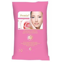 Premial салфетки влажные для снятия макияжа, 20 шт