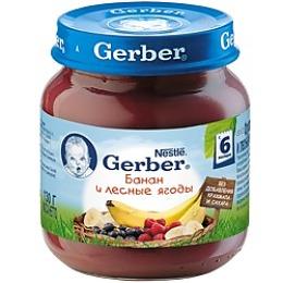 "Gerber пюре ""Банан, лесные ягоды"", 130 г"