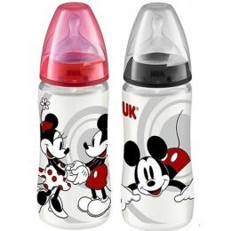 "Nuk бутылочка ""Дисней. Микки"", пластик, 300 мл + соска с вентиляцией из силикона, размер 2"