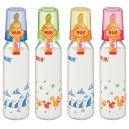 Nuk бутылочка пластмассовая, 240 мл + соска с вентиляцией из латекса, размер 1