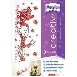 Metylan creativ' декоративная наклейка оленья упряжка 33,5х47см