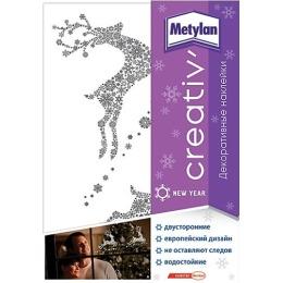 Metylan creativ' декоративная наклейка серебряные олени 47х67см