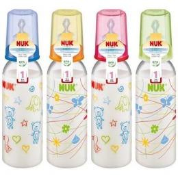 Nuk бутылочка пластмассовая, 240 мл + соска с вентиляцией из силикона, размер 1