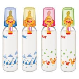 Nuk бутылочка стеклянная, 230/250 мл + соска с вентиляцией из латекса, размер 1