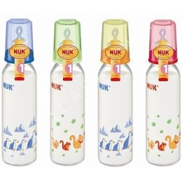 Nuk бутылочка стеклянная, 230/250 мл + соска с вентиляцией из силикона, размер 1