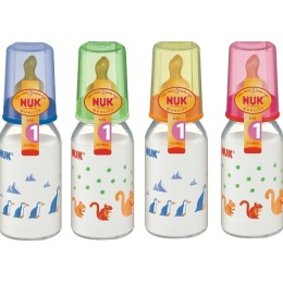 """Nuk бутылочка """"First choice"""", стеклянная, разноцветная, 120 мл + соска с вентиляцией из латекса для молока, размер 1 М"""