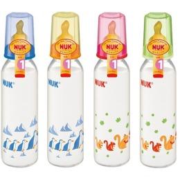 """Nuk бутылочка """"First choice"""", стеклянная, разноцветная, 240 мл + соска с вентиляцией из латекса для молока, размер 1 М"""