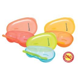 Курносики тарелочка двухсекционная с крышкой и ложечкой