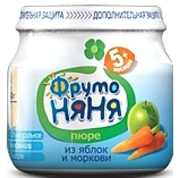 """Фруто Няня пюре """"Яблоко и морковь"""" с 5 месяцев, 80 г"""