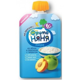 """Фруто Няня пюре """"Яблоко, груша, творог, сахар"""" с 6 месяцев, 90 г"""