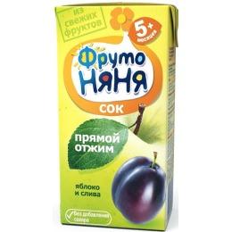 """Фруто Няня сок """"Яблоко, слива"""" с 5 месяцев, 200 мл"""
