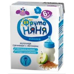 """Фруто Няня кашка молочная """"Гречневая с яблоком и фруктозой"""" с 6 месяцев, 200 г"""