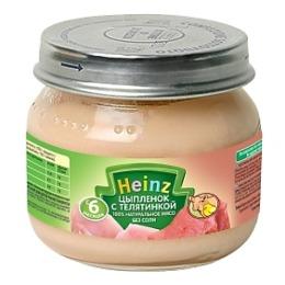 """Heinz пюре """"Цыпленок с телятинкой"""" с 6 месяцев, 80 г"""