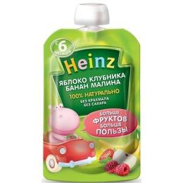 """Heinz пюре """"Яблоко, клубника, банан, малина"""" с 6 месяцев, 100 г"""
