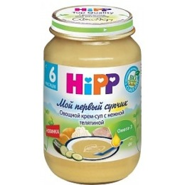 """Hipp крем-суп """"Овощи с телятиной"""" с 6 месяцев, 190 г"""