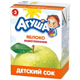 """Агуша сок """"Яблоко"""" осветленный, в коробке, 200 мл"""