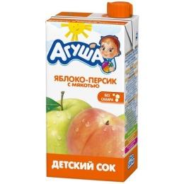 """Агуша сок """"Яблоко и персик"""" с мякотью, в коробке, 500 мл"""