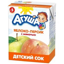 """Агуша сок """"Яблоко и персик"""" с мякотью, в коробке, 200 мл"""