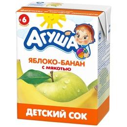 """Агуша сок """"Яблоко и банан"""" с мякотью, в коробке, 200 мл"""
