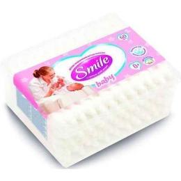 Smile ватные палочки с ограничителем, в квадратной коробке, 60 шт
